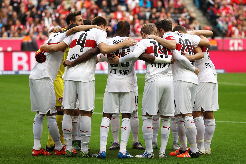 Fussball, Fußball, Soccer, Sport, sports, Bundesliga, VfB Stuttgart, Spieler, Player, Mannschaft, Team, Zusammenhalt, Vor dem Spiel, Teambuilding, Spirit, Teamkreis