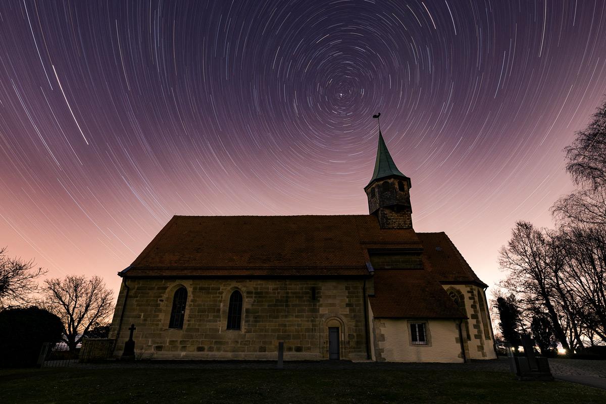 Heimat, Belsener Kapelle, Polarstern, Sterne, Stars, Startrail