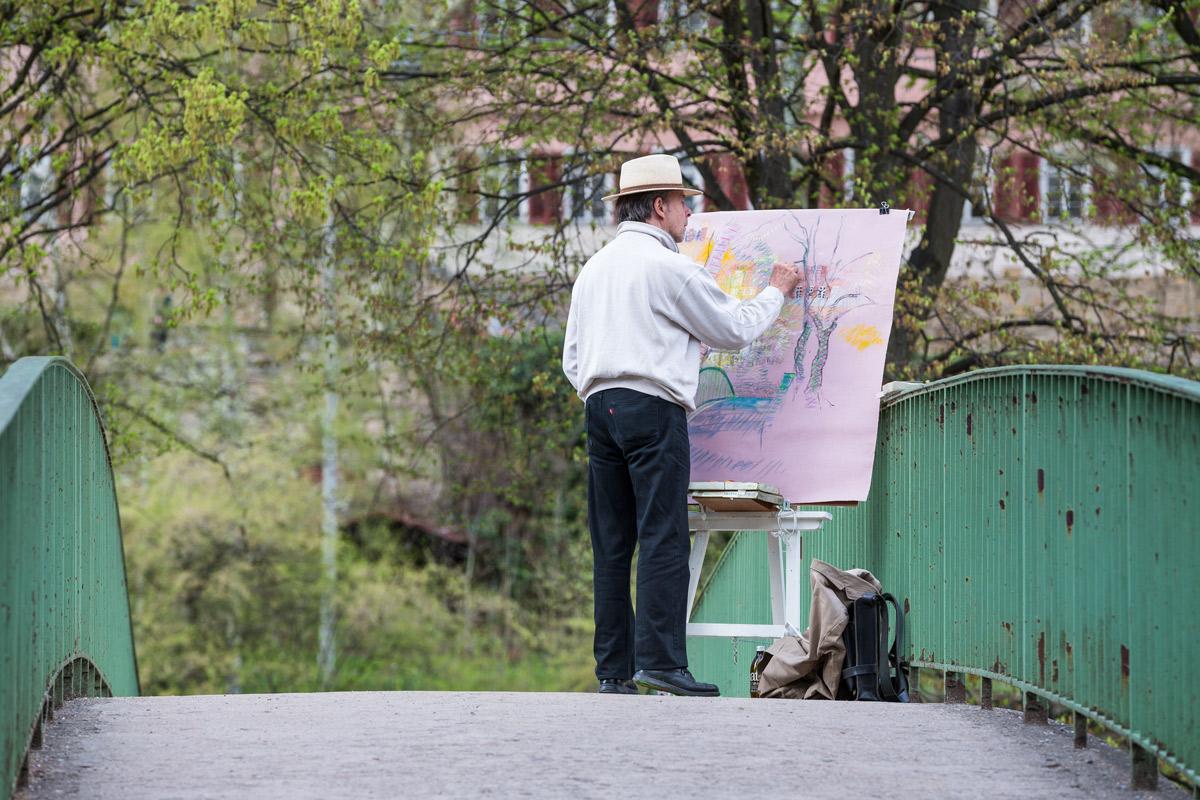 Heimat, Tübingen, Künstler, Frühling, Pastell, Brücke, Neckarfront