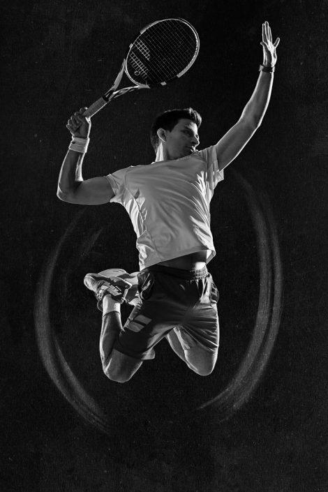 Schmetterball, Smash, Tennis, Athletik, schwarz-weiss, schwarzweiss, Werbephotographie