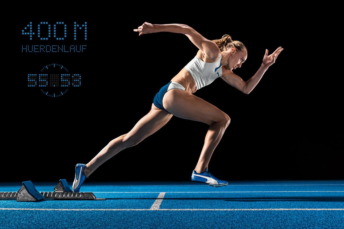 Leichtathletik, Startblock, 400m Huerden, Startseite, Jackie Baumann