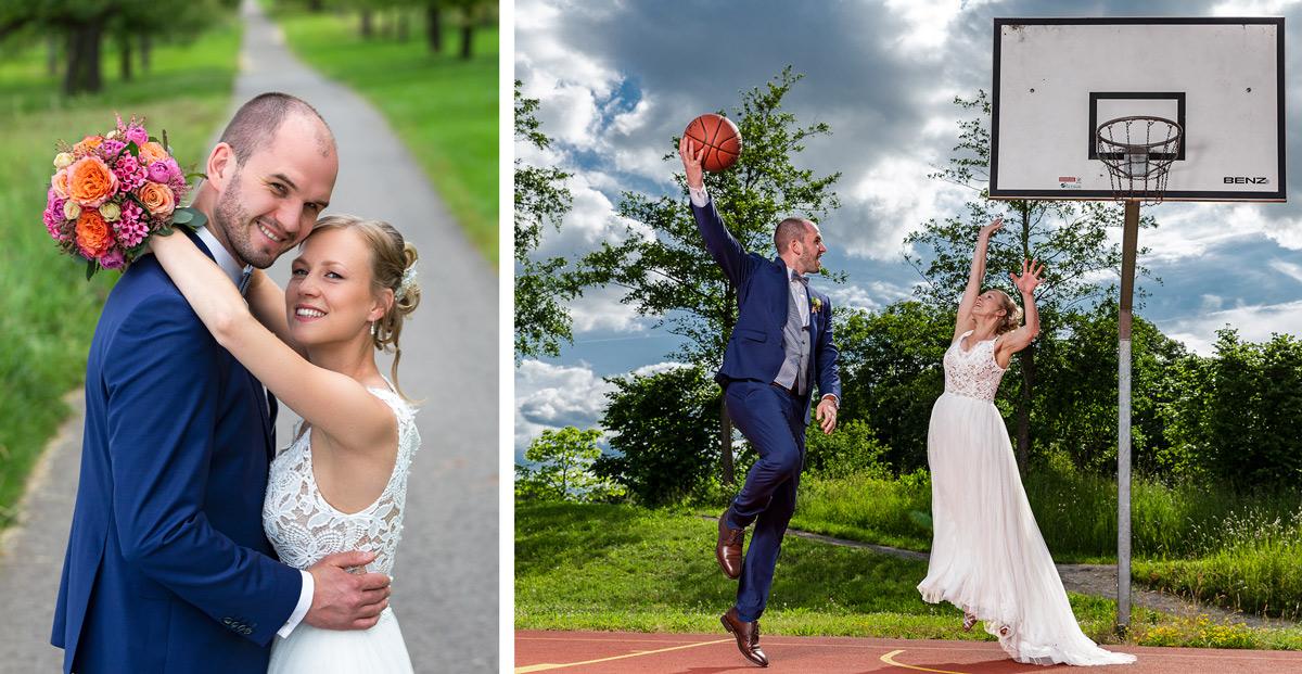 Hochzeit, Wedding, Basketball, Braut, Bräutigam, Kleid, Brautkleid, Sport, Sprungwurf, Hakenwurf