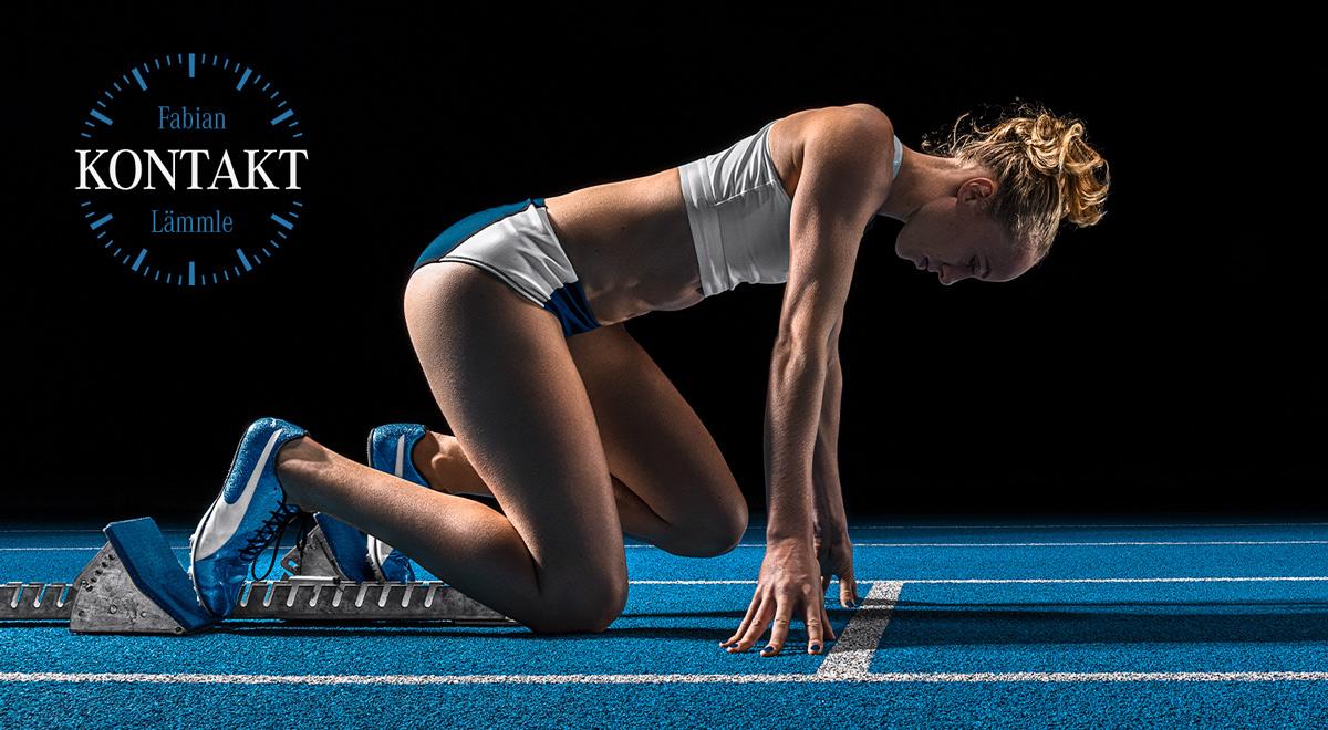 Kontakt, Jackie Baumann, Sprinterin, Huerdenlauf, Startvorbereitung, Werbefotografie, Werbephotographie