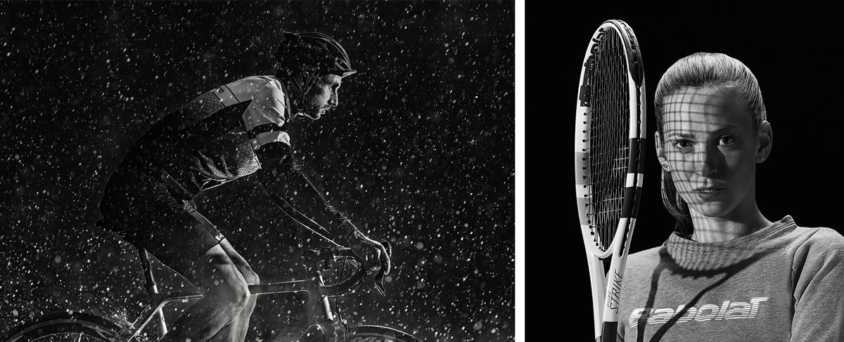 Radsport, Radsportler, Regen, Tennis, Tennisschläger, Saite, Babolat,, Startseite, Werbefotografie, Werbephotographie